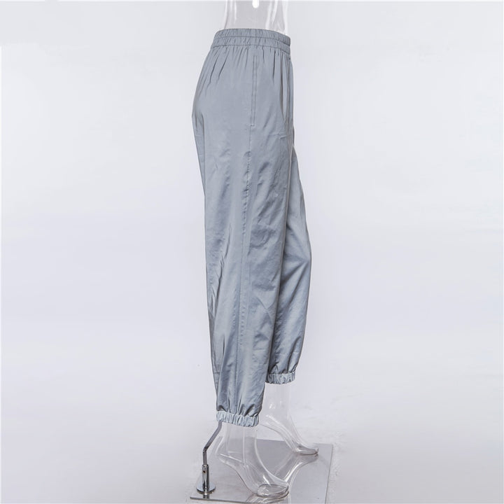 Women's Spring/Autumn Reflective High Waist Cargo Pants With Pockets