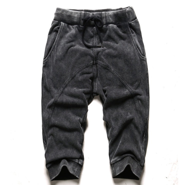 Men's Summer Washed Knee-Length Harem Pants | Men's Cotton Joggers