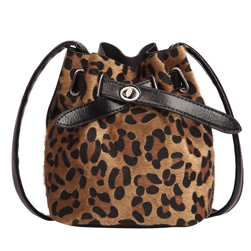 Women's Autumn Flock&PU Shoulder Bucket Bag With Leopard Print