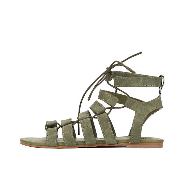 Women's Summer Lace-Up Ankle Strap Flat Gladiator Sandals