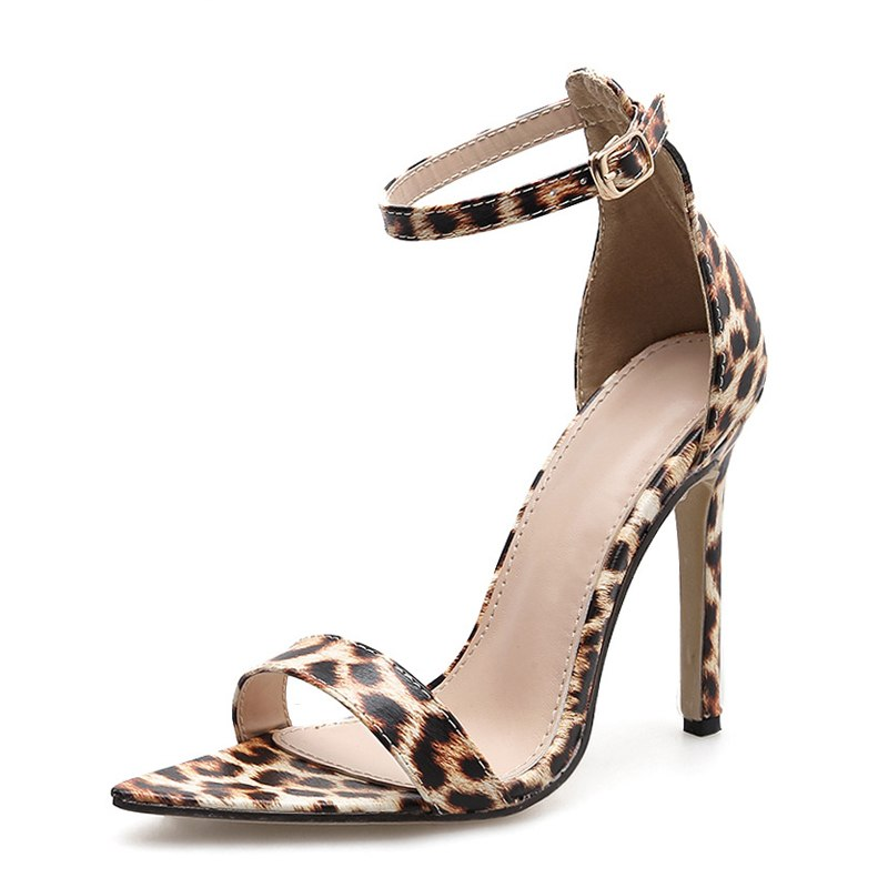 Women's Summer Basic PU Leather Thin-Heeled Sandals With Leopard Pattern