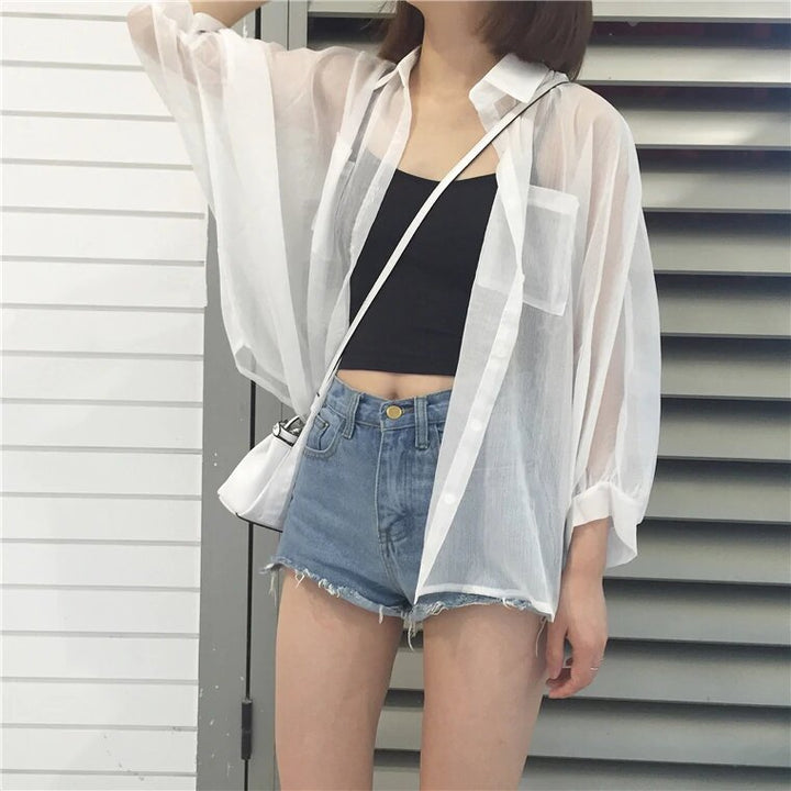 Women's Summer Transparent Sunproof Chiffon Blouse