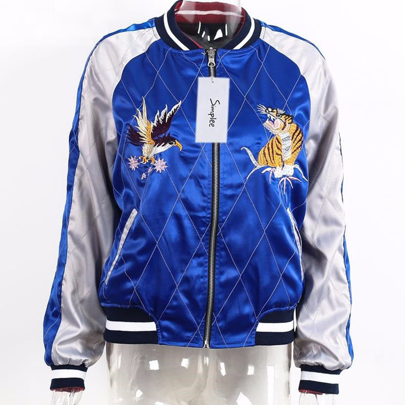 Reversible Bomber Jacket With Embroidery - Zorket