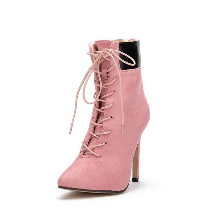 Women's Autumn Suede Cross-Tied High-Heeled Ankle Boots