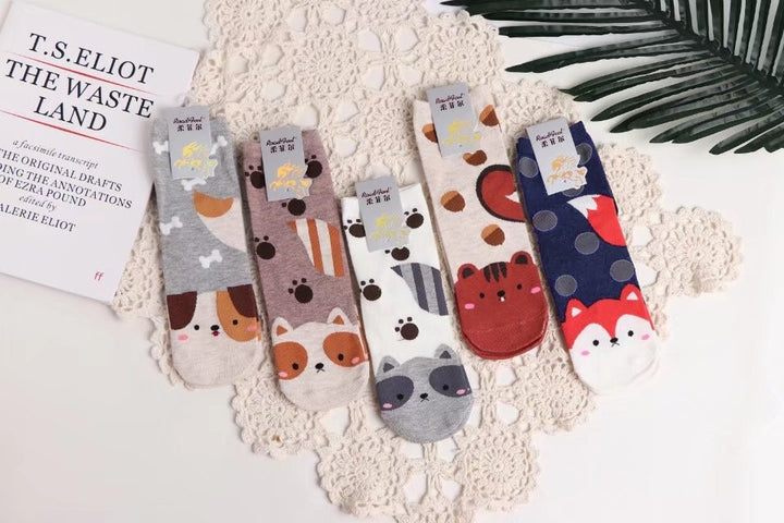 Women's Spring/Autumn Cotton Flexible Soft Ankle Socks With Cartoon Animals