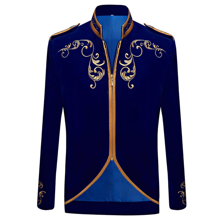 Men's Autumn British Style Velvet Slim Fit Blazer With Golden Embroidery
