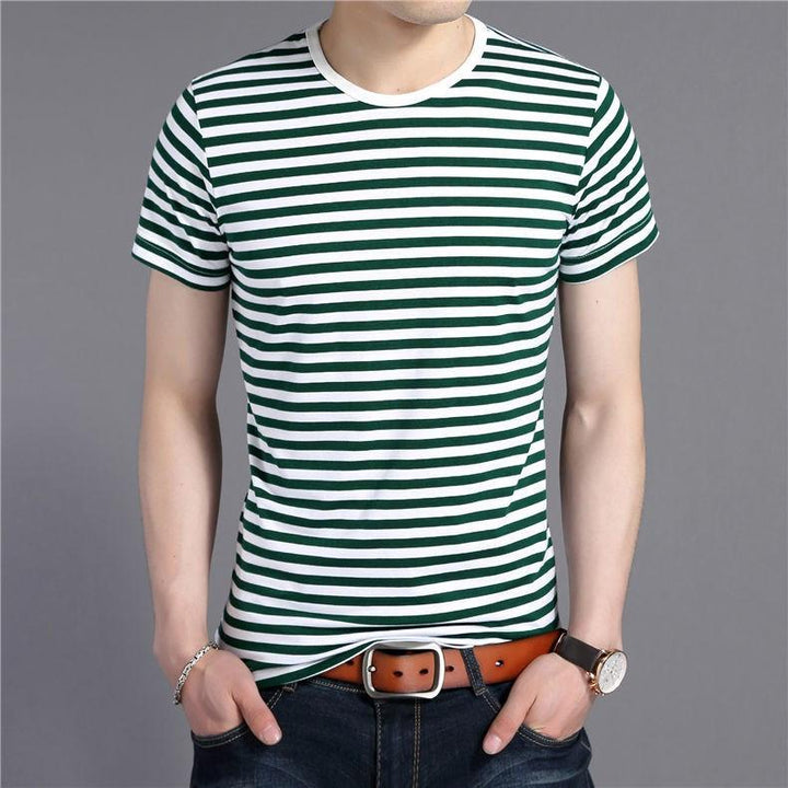 Men's Cotton Short Sleeve Pinstriped O-Neck T-Shirt