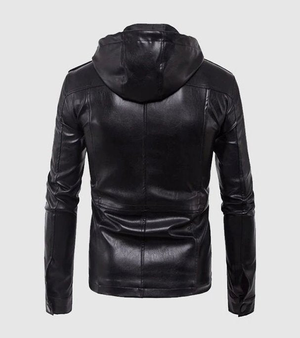Men's Spring/Autumn PU Leather Hooded Motorcycle Jacket
