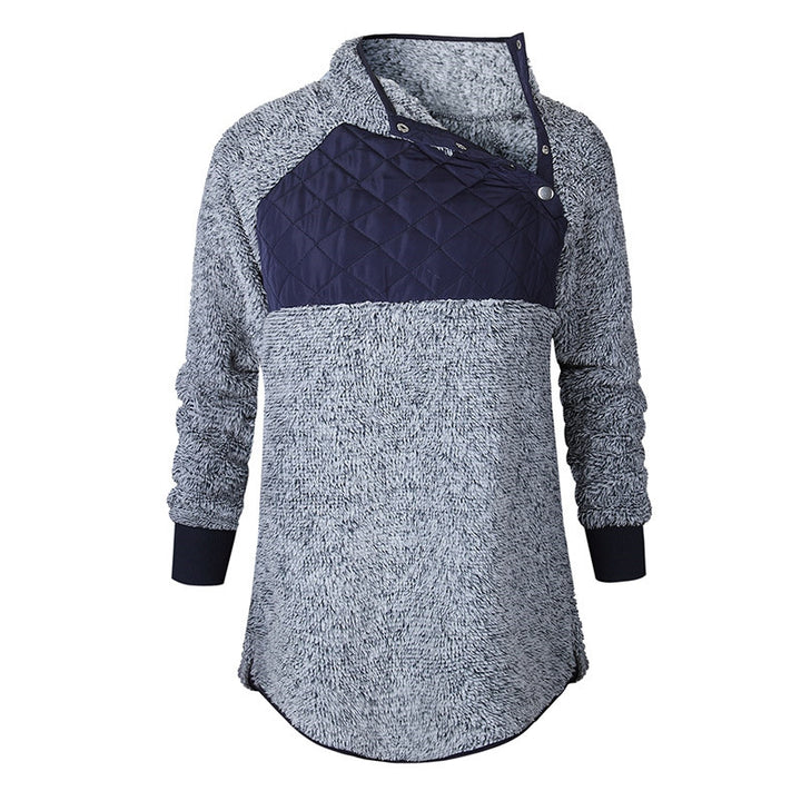 Women's Autumn/Winter Warm Soft Plush Patchwork Sweatshirt With Buttoned Turtleneck
