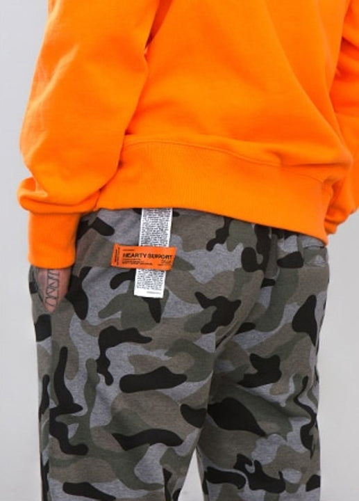 Men's Winter Cotton Elastic Waist Sweatpants With Camouflage Pattern