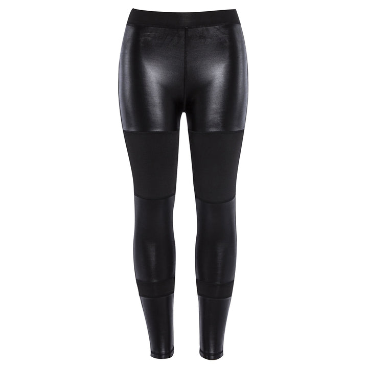 Women's Spring/Autumn PU Leather Patchwork Push Up Fitness Leggings