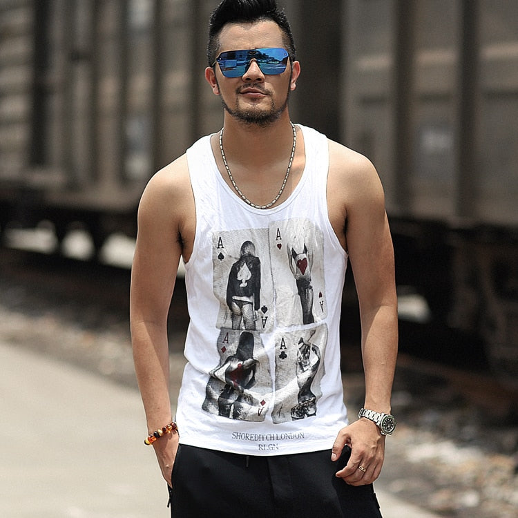 45a6f993672058 Men s Summer White Tank Top With Print