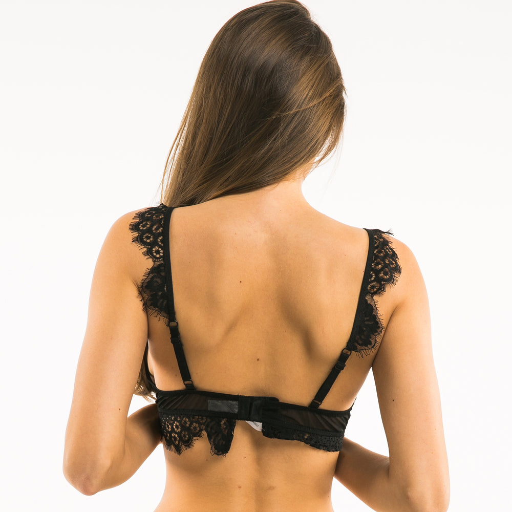 Women's Black Floral Lace Bralette