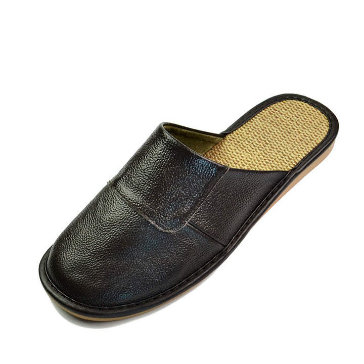 Men's Spring/Autumn Genuine Leather Home Slippers