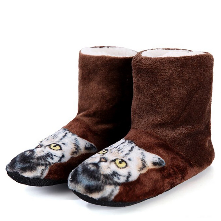 Women's Winter Warm Plush Home Slippers With Cat Print