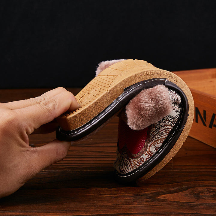 Men's Winter Genuine Leather Fur Slippers