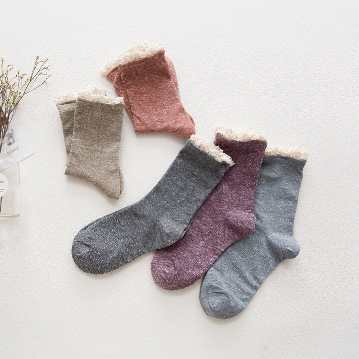 Women's Winter Cotton Lace Socks - Zorket