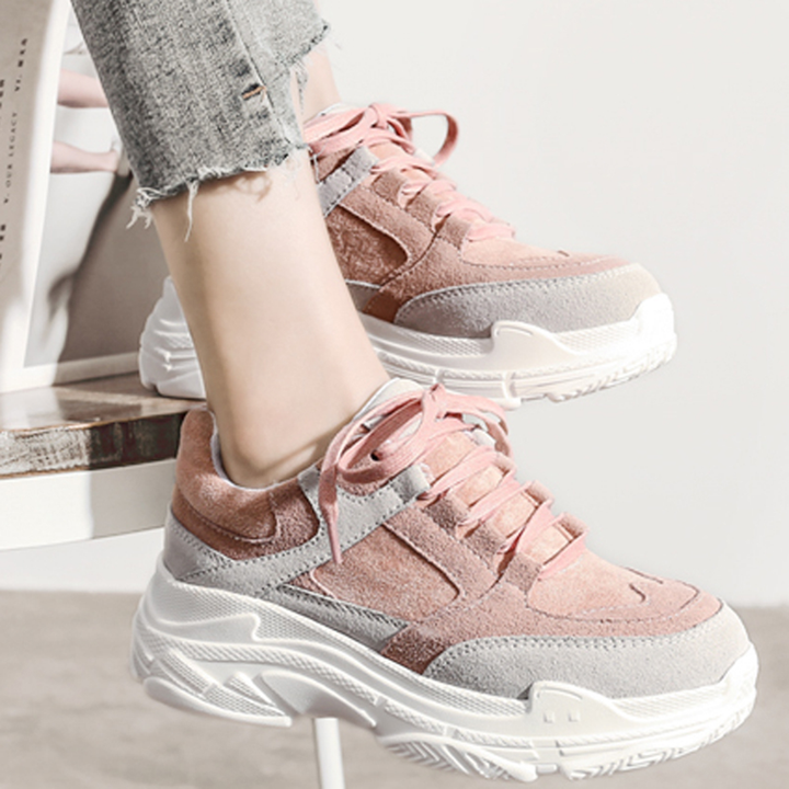 Women's Spring Casual Platform Lace Up Sneakers