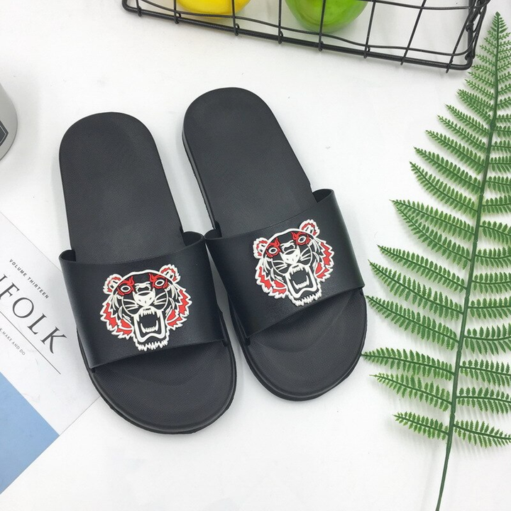 Women's Summer Casual Flip Flops With Tiger Print