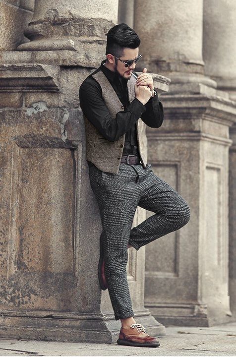 Men's Autumn/Winter Slim Lattice Woolen Suit Vest