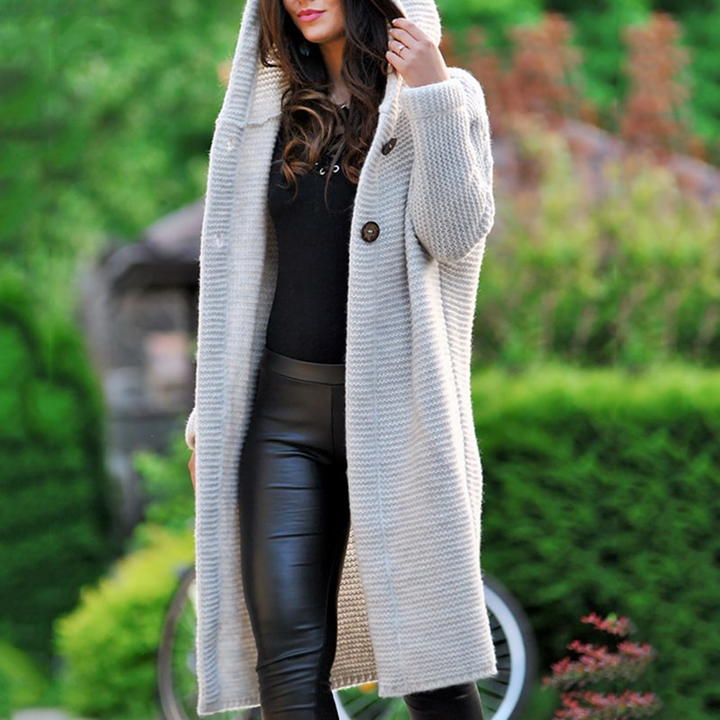 Women's Winter/Autumn Hooded Knitted Cardigan | Plus Size