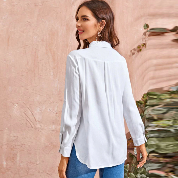 Women's Summer/Autumn Solid Basic Casual Shirt Blouses
