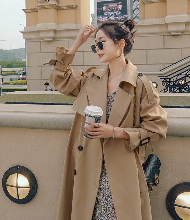 Women's Spring/Autumn Long Double Breasted Khaki Trench Coat  With Belt