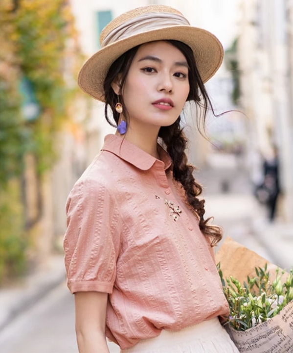 Women's Summer Casual Turn Down Collar Slim Shirt