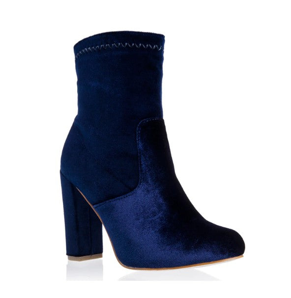 Women's Autumn/Winter Square-Heeled Velvet Ankle Boots