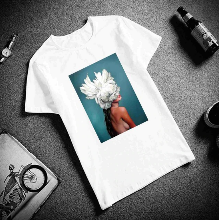Women's Cotton Short Sleeved Flowers Print T-Shirt