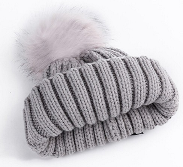 Women's Winter Knitted Hat With Faux Fur Ball - Zorket