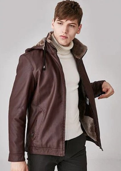 Men's Winter Warm PU Leather Thick Hooded Jacket With Velvet Lining