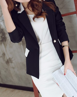 Women's Long-Sleeved Solid Color Blazer - Zorket