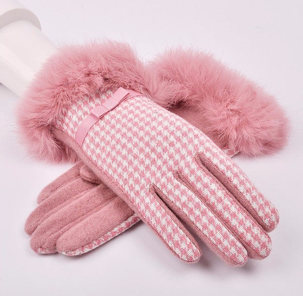 Winter High-Grade Cashmere  Women's Plaid Gloves - Zorket