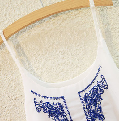 Tank Top – Fashion Solid Strappy Top With Embroidery | Zorket