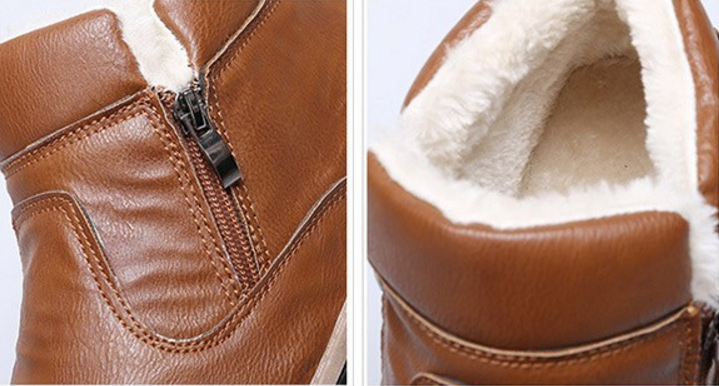 Boots – Fashionable PU Leather Winter Boots With Fur For Men | Zorket