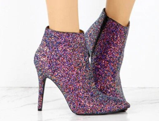 Women's Winter Sequined High-Heeled Ankle Boots