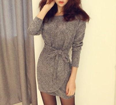 Spring Long Sleeved Dress With Size Belt