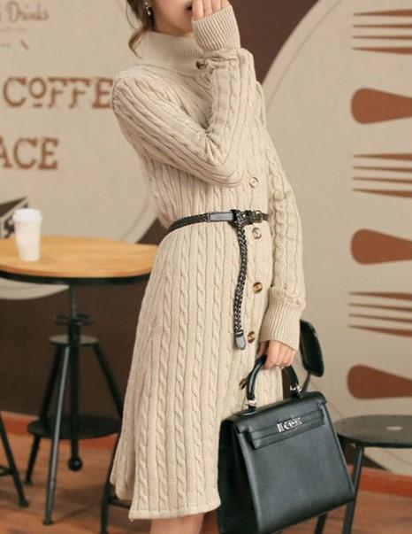 Vintage Single-Breasted Knee-Length Maxi Sweater Dress