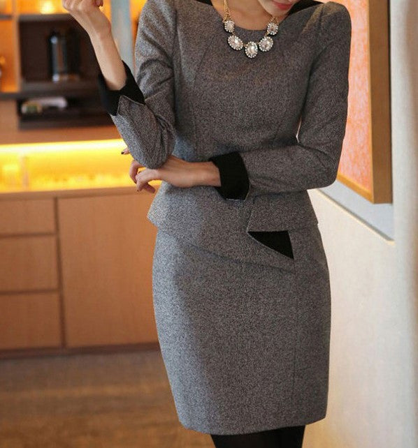 Office Style O-Neck Dress With Long Sleeves - Zorket
