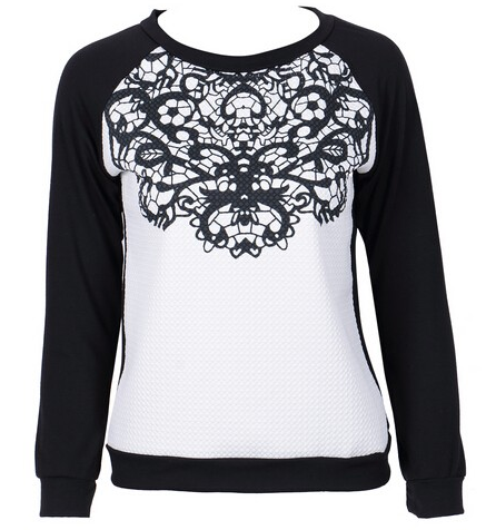 Spring Autumn Fashion Women's Sweatshirt With Lace