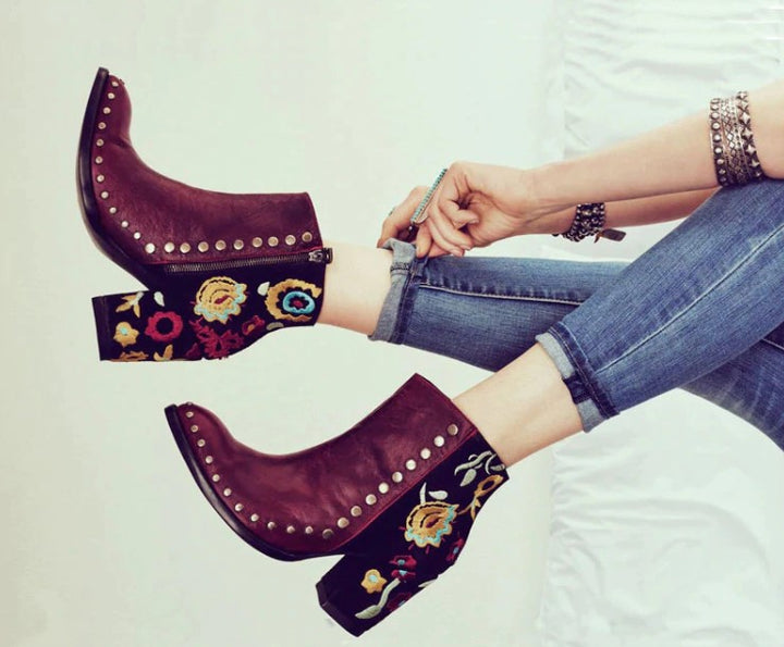 Women's Autumn PU Leather Heeled Ankle Boots With Flower Embroidery