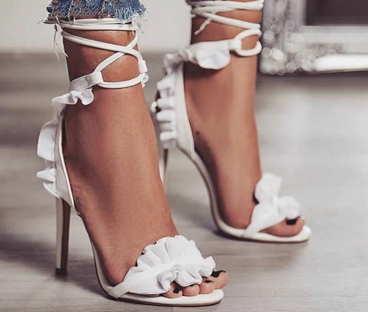 Women's Summer Lace-Up High-Heeled Bandage Sandals
