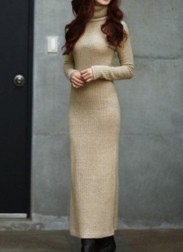 Ankle-Length Woolen Sweater Dress - Zorket