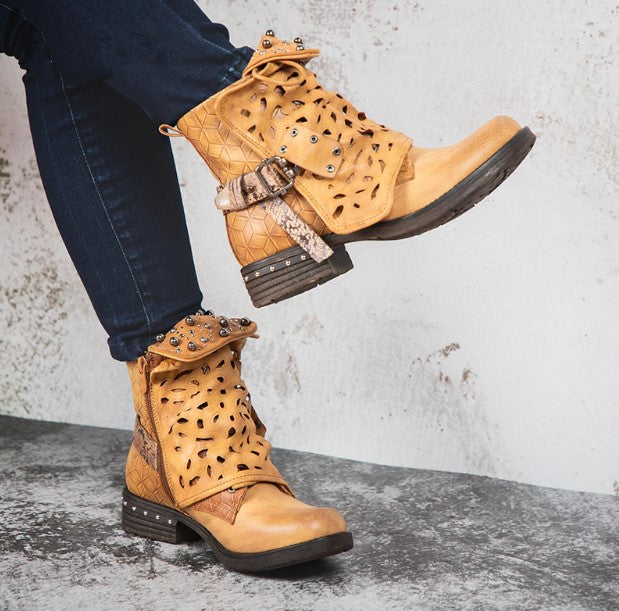 Women's Autumn/Winter Western Style PU Leather Ankle Boots