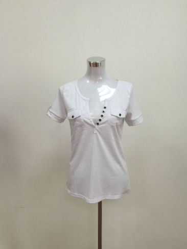 Cotton T-Shirt With Deep Neckline - Zorket