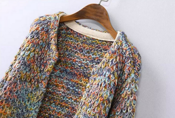 Female Casual Rainbow Color Knitted Cardigan - Zorket
