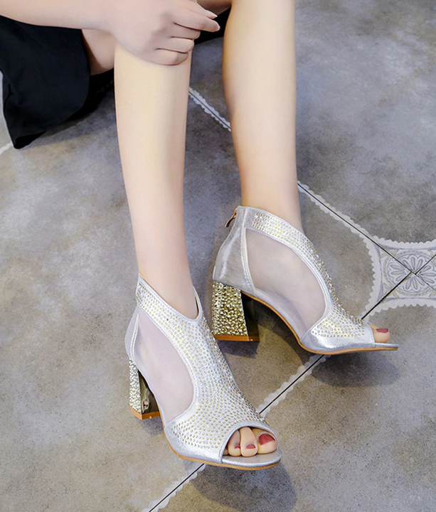 Women's Spring/Summer Buckle Shiny Open Toe Pumps