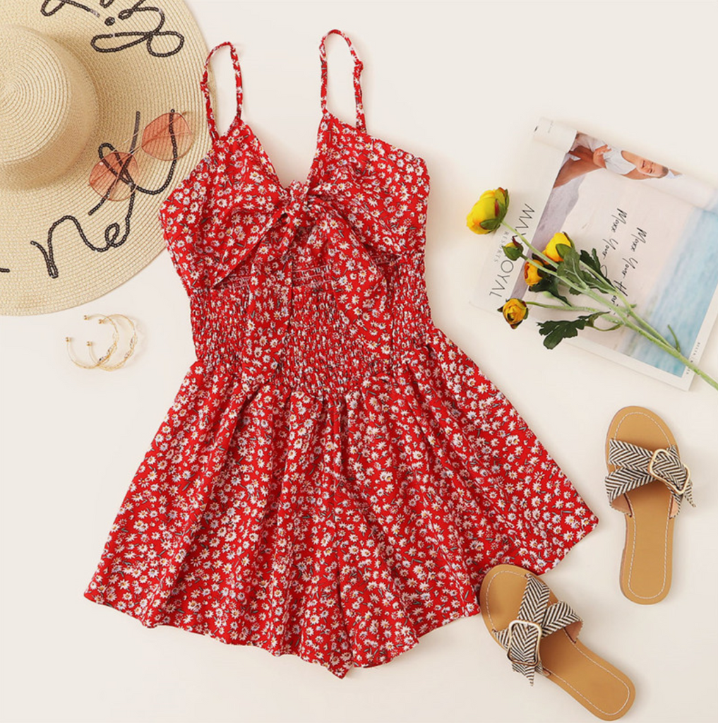Women's Summer Floral High-Waist Sleeveless Romper