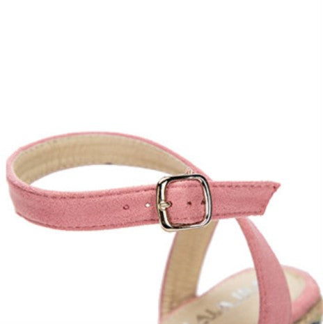 Women's Summer Cross-Tied Flock Sandals | Ladies High Platform Espadrilles